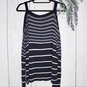 Bailey44 Open Shoulder Striped Blouse